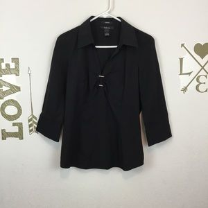 STYLE & CO. BLACK BUCKLE FRONT TOP